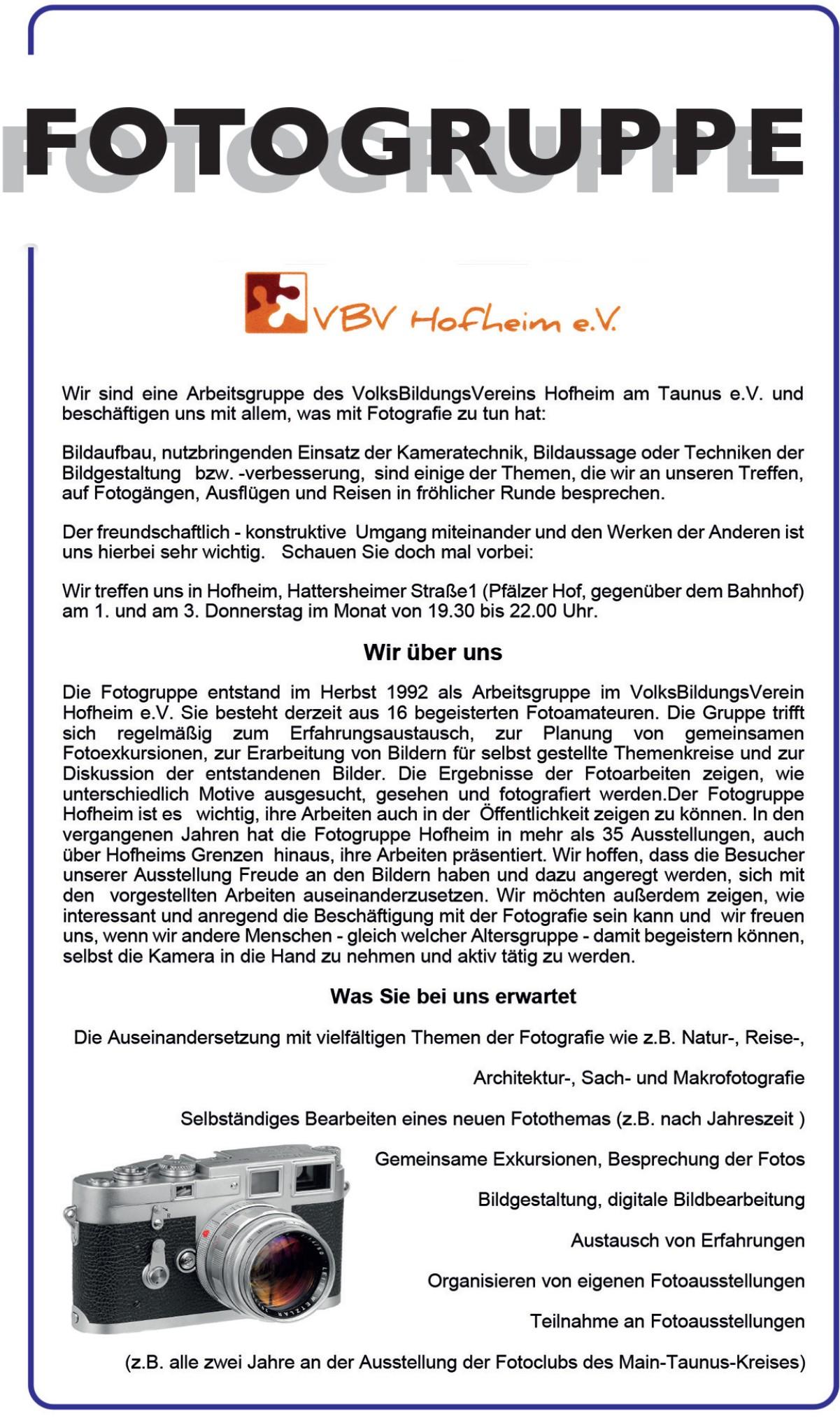Fotogruppe VBV Hofheim